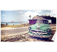 Cuban classic car by the beach Poster