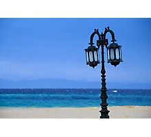 Lamp-post at Beach Colonnade by Red Sea (Egypt)  Photographic Print