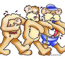 Guillotine Bear, Joe Blow Bear and Postal Bear on a Zombie Walk. by kim molner