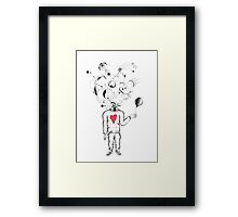 Creative mind in heart sweater  Framed Print