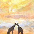Giraffes at Sunset by Carolyn Leete