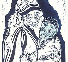 Mother Teresa and Baby by Carolyn Leete
