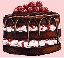 Chocolate Raspberry Cake Photographic Print