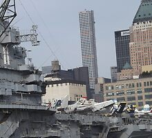 View of 432 Park Avenue Skyscraper, USS Intrepid Air and Space Museum, New York City  by lenspiro