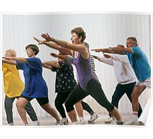 mature aged people exercising with personal trainer Poster