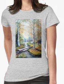 Leaving the Woodland Creek Womens Fitted T-Shirt