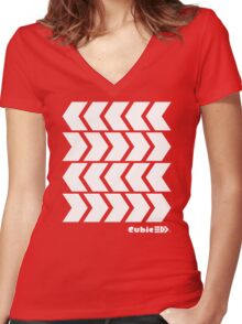 Inkling's Arrowed Red Shirt - Splatoon Women's Fitted V-Neck T-Shirt