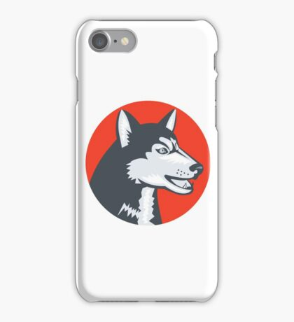 Siberian Husky Dog Head Circle Retro iPhone Case/Skin
