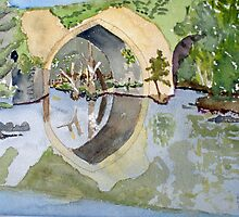 The French Watercolors:  Pont romain Un by Phyllis Dixon