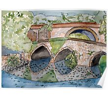 The French Watercolors:  Pont romain Du Poster