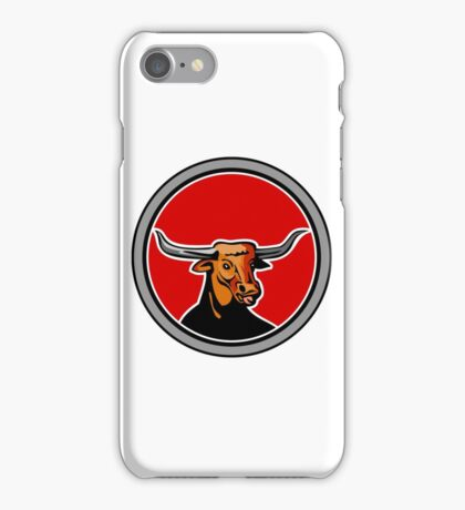 Texas Longhorn Red Bull Circle Retro iPhone Case/Skin
