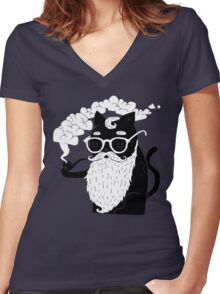 Whiskers And Pipe Women's Fitted V-Neck T-Shirt