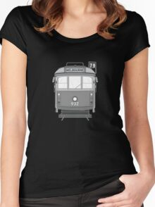 Melbourne Heritage Tram (B/W) Women's Fitted Scoop T-Shirt