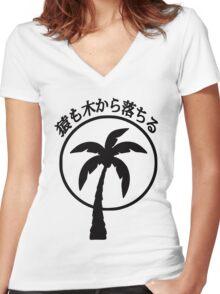 Even Monkeys Fall Out of Trees Japanese Kanji T-shirt Women's Fitted V-Neck T-Shirt