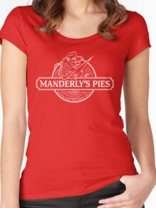 Manderly's Pies (in white) Women's Fitted Scoop T-Shirt
