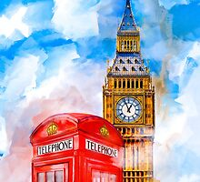London Dreams - Big Ben & An Iconic Red Telephone Box by Mark Tisdale