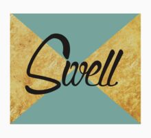 """Swell"" Gold Leaf Golden Teal Green Blue Font Typography Funny Silly Humor Modern Clean Lines Geometric Triangles One Piece - Long Sleeve"