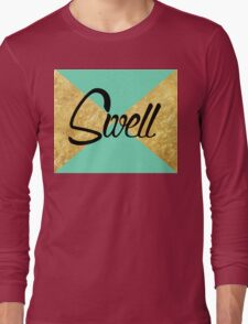"""Swell"" Gold Leaf Golden Teal Green Blue Font Typography Funny Silly Humor Modern Clean Lines Geometric Triangles Long Sleeve T-Shirt"