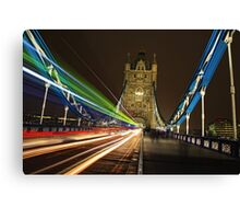 Light Trails on Tower Bridge, London Canvas Print