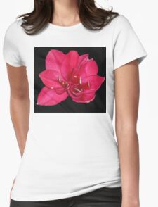 red blossom on black T-Shirt
