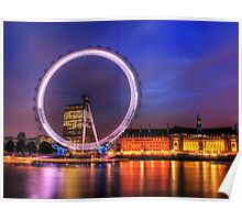 London Eye at Night reflected in the Thames Poster