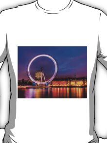 London Eye at Night reflected in the Thames T-Shirt