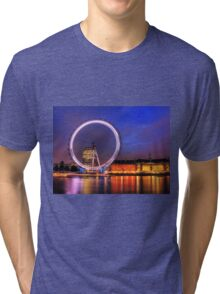 London Eye at Night reflected in the Thames Tri-blend T-Shirt