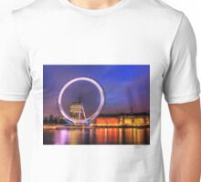 London Eye at Night reflected in the Thames Unisex T-Shirt