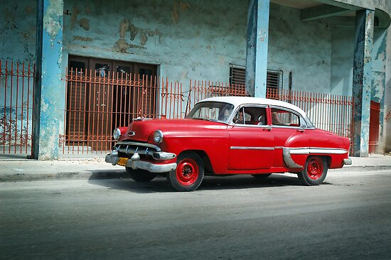 1953 Chevrolet Bel-Air Sedan 4D Red, Cuba by Carlos Lorenzo