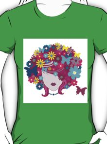 Floral Girl With Butterfly T-Shirt