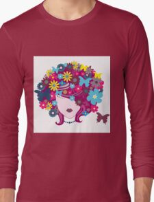 Floral Girl With Butterfly Long Sleeve T-Shirt
