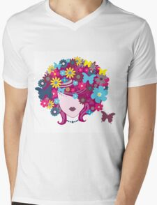 Floral Girl With Butterfly Mens V-Neck T-Shirt