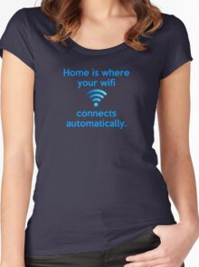 Home is where your wifi connects automatically. Women's Fitted Scoop T-Shirt