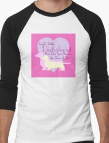 """Small, Little Dachshund How Did You Become the Boss of Me?"" Doxie Weenie Dog Pink Purple Girly Girlie Silhouette  Men's Baseball ¾ T-Shirt"