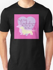 """""""Small, Little Dachshund How Did You Become the Boss of Me?"""" Doxie Weenie Dog Pink Purple Girly Girlie Silhouette  T-Shirt"""