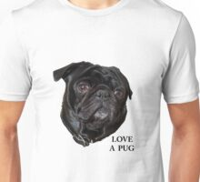 Black Pug face -  Love a Pug Unisex T-Shirt