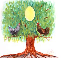Family tree egg painting by Veera Pfaffli