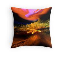 orange swamp..... abstract landscape Throw Pillow