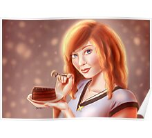 Katie with Chocolate Cake Poster