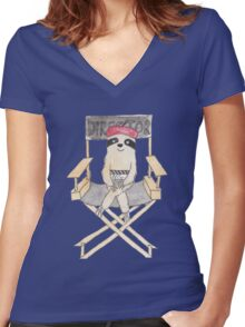 Movie Director Sloth Women's Fitted V-Neck T-Shirt
