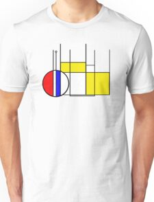 Modern Lines and Colors - Red Blue Yellow Black White Geometric Unisex T-Shirt