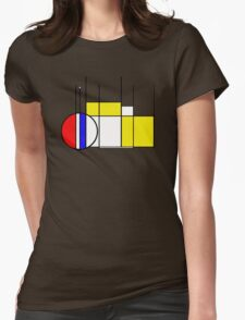 Modern Lines and Colors - Red Blue Yellow Black White Geometric Womens Fitted T-Shirt