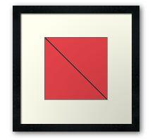 Modern Minimalistic Black Stripe on Coral Red Framed Print
