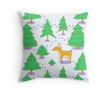 Deer in The Winter Forest Throw Pillow
