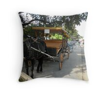 carriages for hire... Decatur Street, French Quarter, New Orleans Throw Pillow