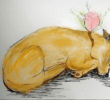 Sleeping Flower Fox by Elizabeth Matthews