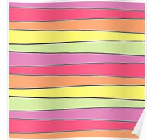 Summer Color Pallette Crooked Stripes- Horizontal Poster