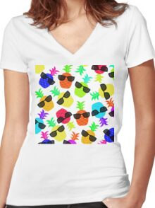 """Seriously Cool Ananas"" - Ananas Fruit Tropical Hot Pink Neon Fuchsia Fluorescent Orange Green Teal Purple Ultraviolet Yellow Sunglasses Lime Cool Super Fantastic Silly Cute Funny Humor   Women's Fitted V-Neck T-Shirt"