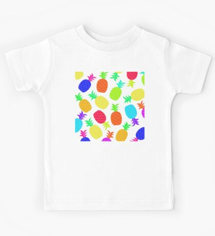 """""""Funky Fun"""" - Ananas Fruit Tropical Hot Pink Neon Fuchsia Fluorescent Orange Green Teal Purple Ultraviolet Yellow Lime Cool Super Fantastic Silly Cute Funny Orange Blue Green Kids Tee"""