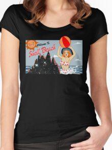Dark City Shell Beach Women's Fitted Scoop T-Shirt